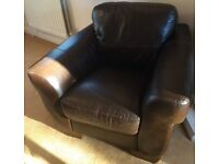 Leather 3 piece set including 2 seater sofa and two armchairs