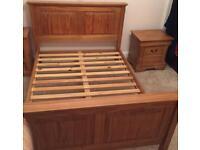 King size antique pine bed frame
