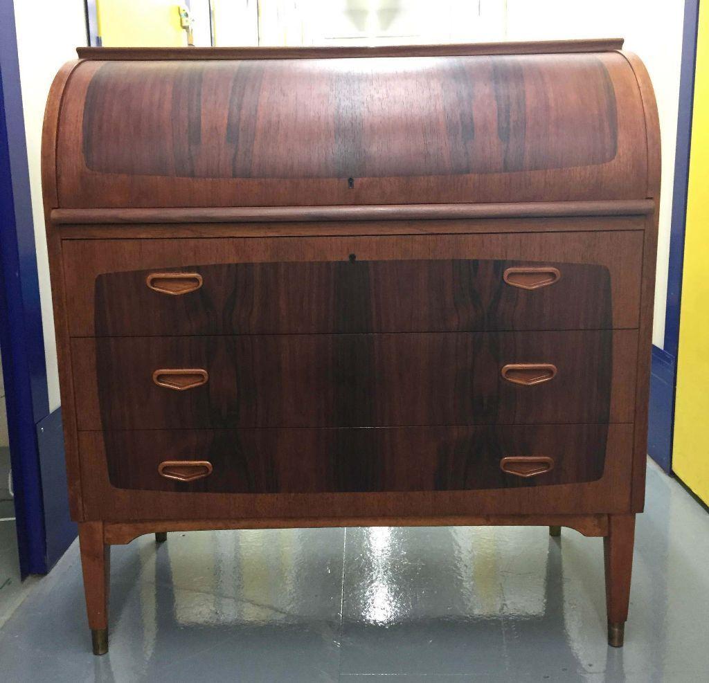 Beautiful Rare Mid Century Modern Swedish Rosewood Teak Roll Top Bureau Desk