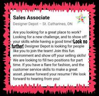 Pt sales associates needed