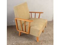 Vintage Mid-Century Timber Framed Chair Eye-catching Reading Bold