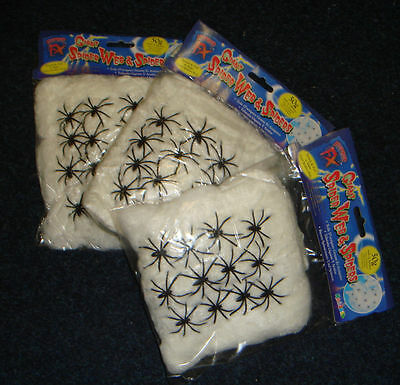 3 X 50g Restposten Halloween Spinnennetz und Spinne Dekoration Requisite Kostüm
