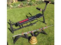 Gymnastic work bench and weights(16 off)