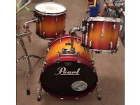Pearl Masters Studio BRX Drum Kit in Vintage Sunburst with Protection Racket cases WILL POST!