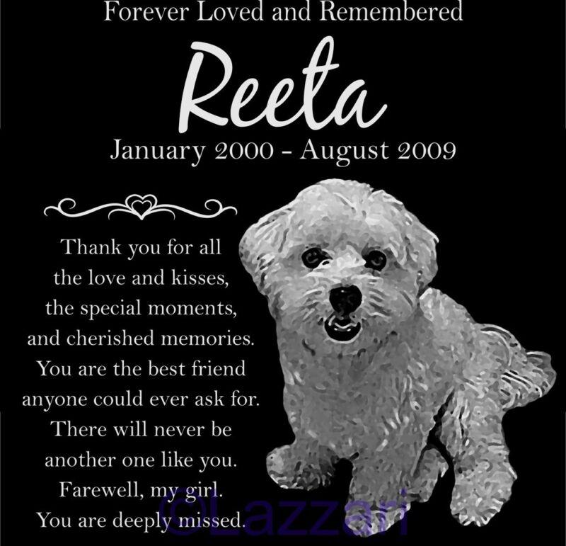 "Personalized Maltese Dog Pet Memorial 12"" Custom Granite Grave Marker Headstone"