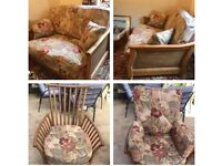Ercol Begere High Back 2 Seater w/ Arm Chair Golden Dawn