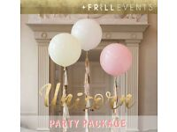 Unicorn* Childrens Party Package + on the day set up. (Frill Events)
