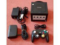 Nintendo GameCube Black Console + Controller + Leads Full Setup