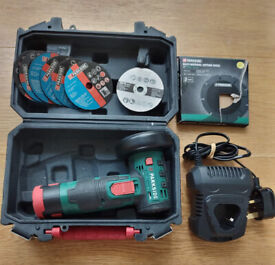 Parkside Cordless Angle Grinder PWSA 12-Li A1 with case, battery, charger + cutting discs