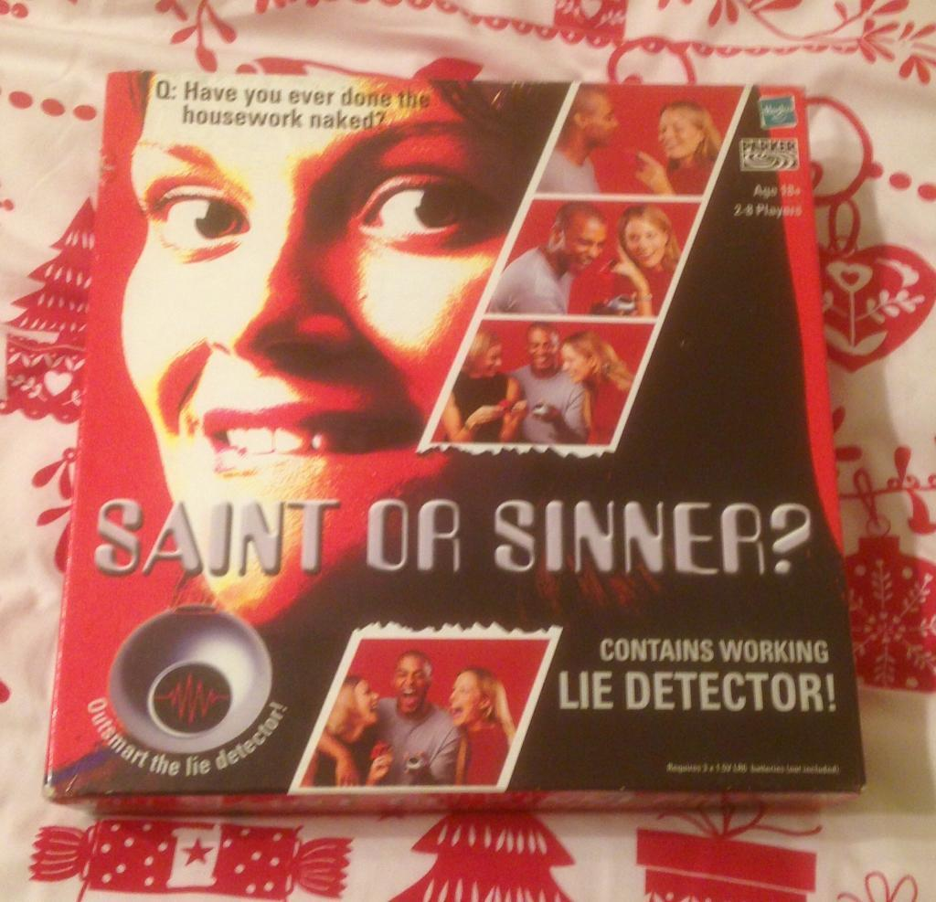 Saint Or Sinner By Hasbro Adult Lie Detector Game Complete And