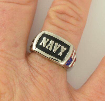 Patriotic Rings (Men's And Ladies NAVY Military Patriot Stainless Steel Ring American Sizes)