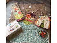 Mamas and papas nursery bundle - duvet, 2 x mobiles, light up canvas & nappy stacker