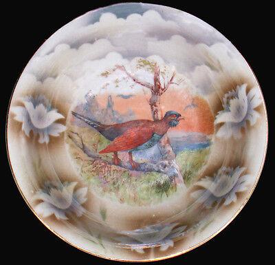 """Vtg Leuchtenburg Germany Art Pottery Game Bird Transferware 10""""d Serving Bowl"""