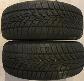 2 Dunlop Winter Sport Snow Tyres 195/55/15
