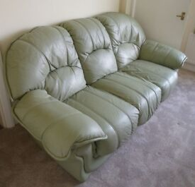 Olive Green Very Comfortable High Backed Sofa - Leatherette 3 Seater Settee