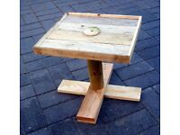 Small Hand-Made Barnwood Rustic garden / Patio Footed PEG TABLE