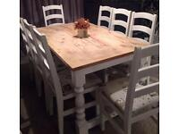 Stunning shabby chic extending dining table and 8 chairs