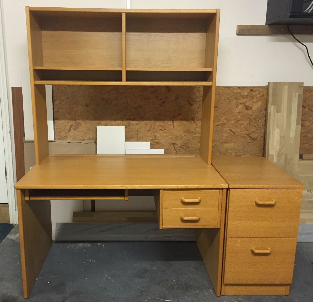 Office Computer Desk With Pedestal And Over Shelf Unit John Lewis