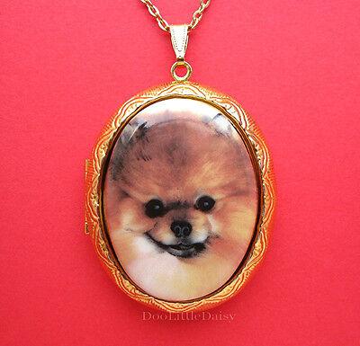 Precious Porcelain POMERANIAN DOG Cameo Costume Jewelry Locket Pendant Necklace