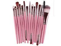 pink 15 piece make up brush set