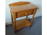 Solid Pine Console Table, with Shelf and Drawer