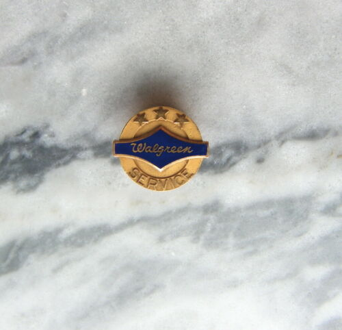 Beautiful WALGREENS Service Advertising Pin GOLD & BLUE ENAMEL pharmacy store