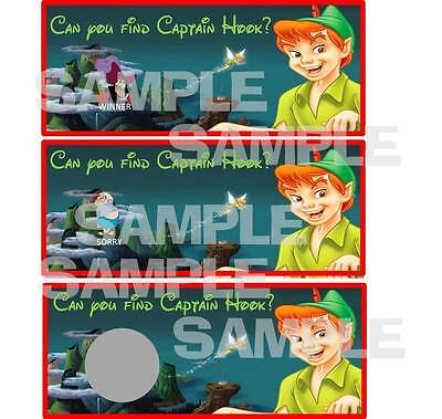 Peter Pan Birthday Party Game Scratch Off Tickets Captain Hook Smee Neverland