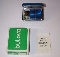 Bulova Travel Alarm Clock Blue Case Nice Working Condition Japan Vintage
