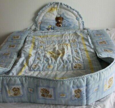 Crib bedding set baby boy light BLUE teddy bear sailor yellow comforter bumper
