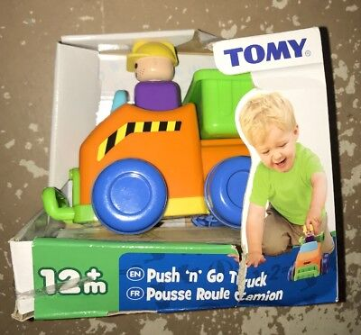 Tomy 2010 Push N Go Tilting Bed Dump Truck Toddler Toy Friction Car Bold Colors