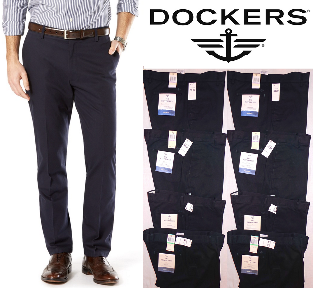 Dockers Men's Signature Khaki Athletic Fit Flat Front Navy S