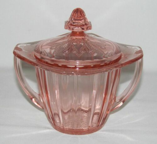 Jeannette Glass Co. ADAM PINK Sugar Dish with Cover