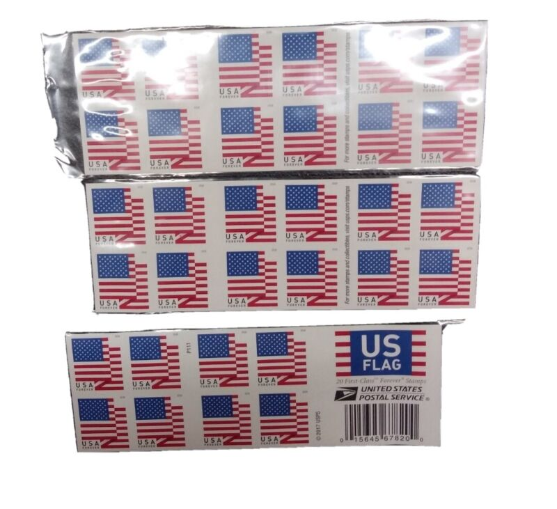 60 U.S. Flag 2018 USPS Forever Stamps (3 books of 20)