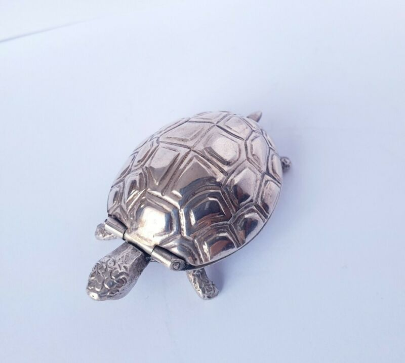 Vintage Solid Silver Italian made Turtle Pill box / Snuff Box Large