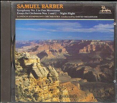 BARBER - Symphony 1 / 2 Essays / Night Flight - David MEASHAM - Unicorn Kanchana for sale  Shipping to Nigeria