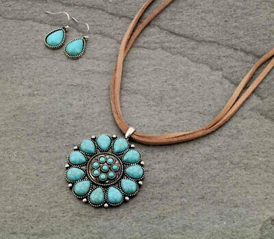 Turquoise Bead Round Pendant South Western Leather Necklace Set Tribal Boho Pearl Pendant Leather Necklace