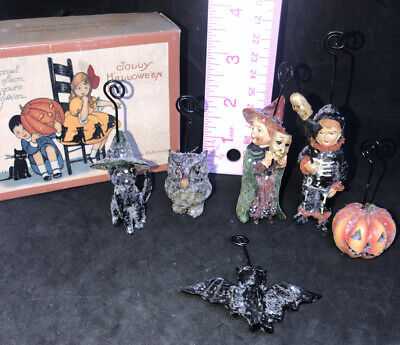 Bethany Lowe Vintage Halloween Spooktacular Place Card Holder Set Witch Owl Cat