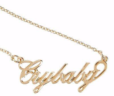 Melanie Martinez Cry Baby Crybaby Gold Tone Nameplate Statement Pendant Necklace