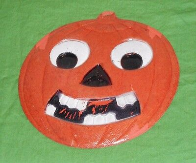 vintage Germany Halloween SMILING JACK-O-LANTERN JOL WITH TEETH DECORATION