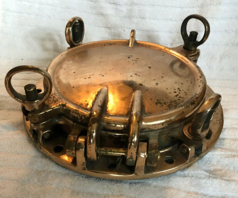 "Vintage Brass/Bronze Maritime 4 Dog Porthole With Cover 10"" Locking D13"