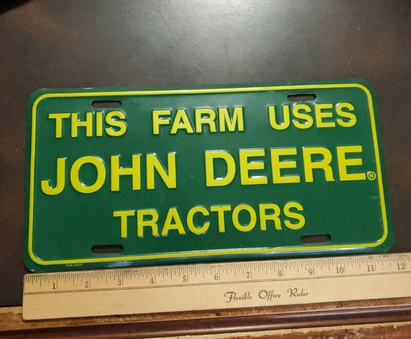 1980s JOHN DEERE Embossed Metal License Plate THIS FARM USES JOHN DEERE TRACTORS