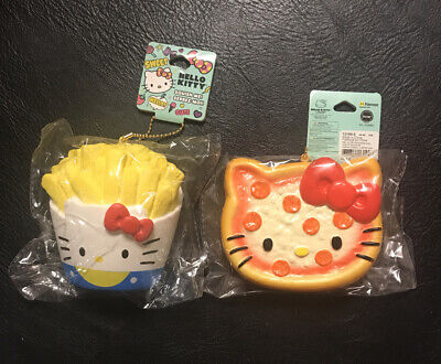 2 Sanrio Hello Kitty Food Pizza Fries Slow Rise SQUISHY Key Chain Kids Gift