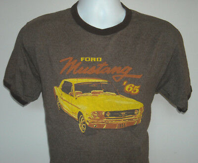 Mustang Ringer (Mens Ford Mustang '65 ringer t shirt brown large distressed logo)
