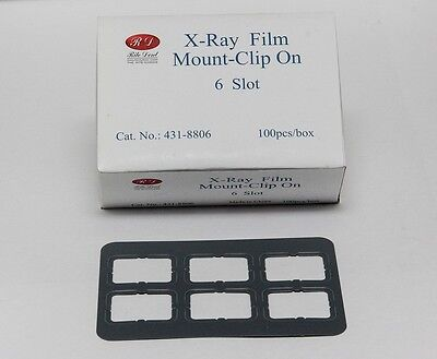 Dental Universal X-ray Film Mount Frames Size 2 - Clip On 6 Slot 100 Pcbox
