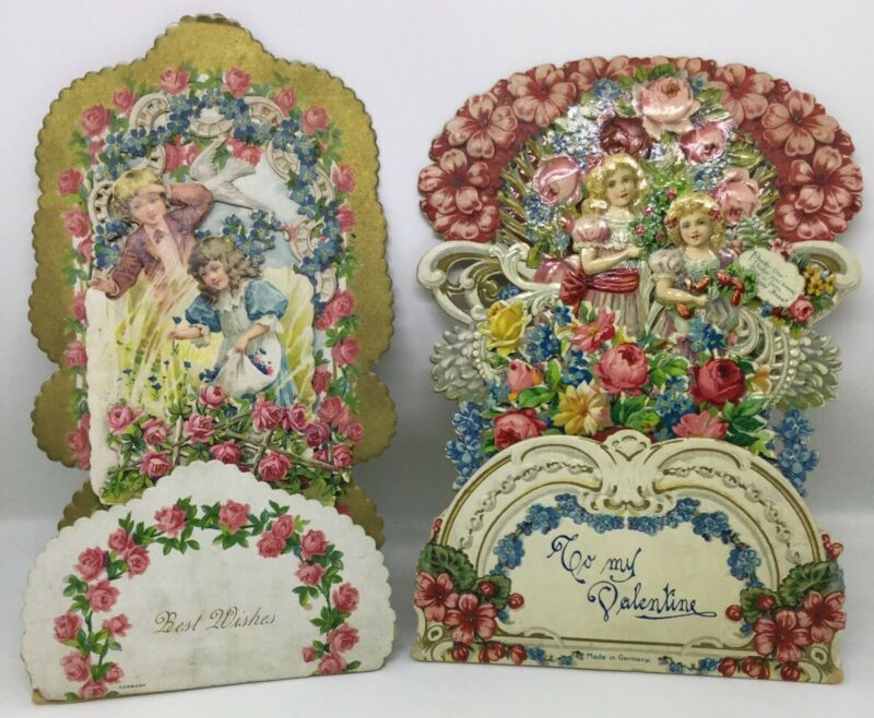 Antique German Pop - Out Valetines Day Cards (I259)