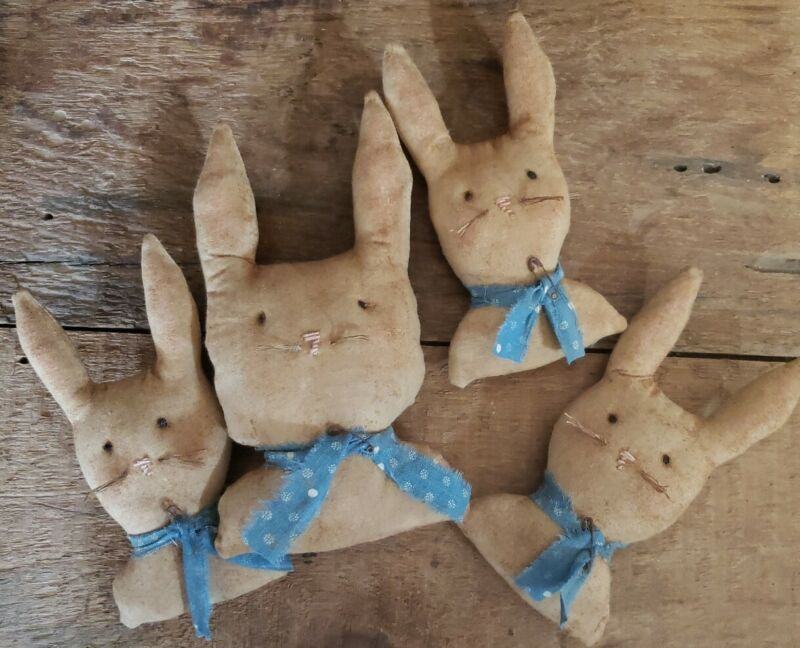 Primitive Bunny Bust Mama And Babies, Spring, Easter
