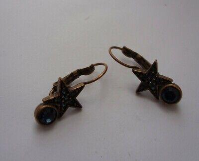 Kirks Folly Sparkly Blue Star Costume Earrings