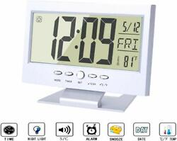Alarm Clock Smart Sound Sensor Large LCD with Nightlight Calendar Temperature