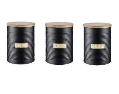 Typhoon Living Otto Black Tea, Coffee, Sugar Canister Storage Set