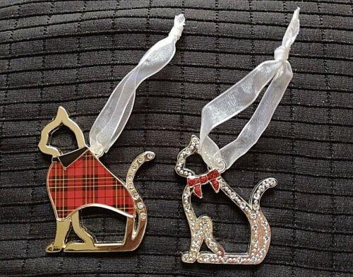 2 Harvey Lewis Swaroski Crystal Cat Kitty Holiday Ornaments Plaid